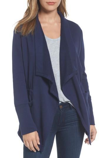 Petite Women's Caslon Asymmetrical Drape Collar Terry Jacket, Size P - Blue