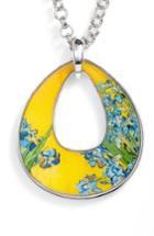 Women's Erwin Pearl Silvertone Irises Open Teardrop Pendant Necklace