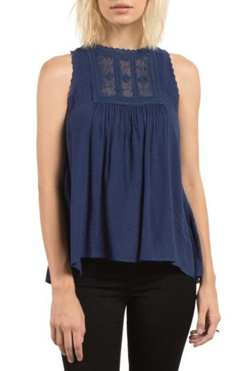 Women's Volcom Crunchroll Lace Trim Top - Blue