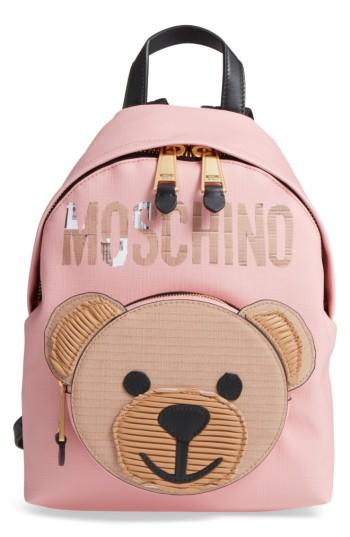 Moschino Cardboard Bear Leather Backpack - Pink