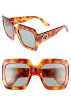 Women's Gucci 54mm Square Sunglasses - Havana/ Green