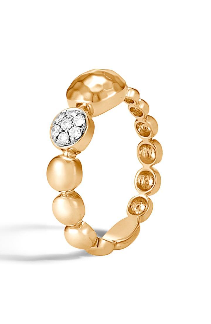 Women's John Hardy Dot Hammered 18k Gold & Diamond Pave Ring