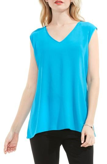 Petite Women's Vince Camuto Mixed Media Top, Size P - Blue