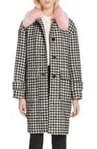 Women's Kate Spade New York Faux Fur Trim Houndstooth Coat, Size - Black