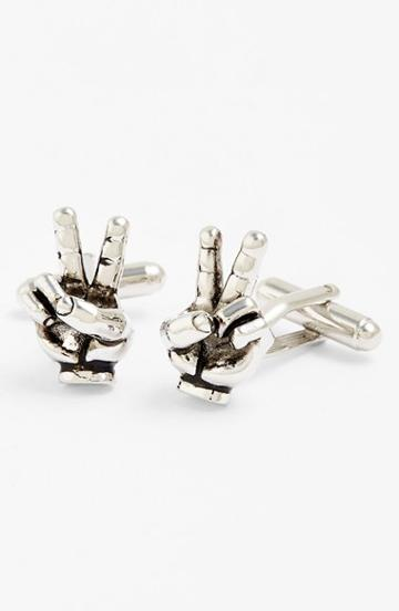 Men's Link Up Peace Sign Cuff Links