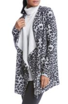 Women's Karen Kane Leopard Print Fleece Cardigan - Purple