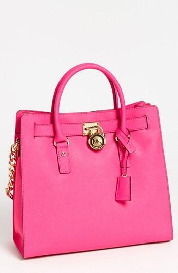 Michael Michael Kors 'hamilton - Large' Saffiano Leather Tote Neon Pink