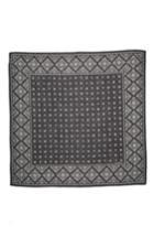 Women's Saint Laurent Folk Print Wool Square Scarf, Size - Black