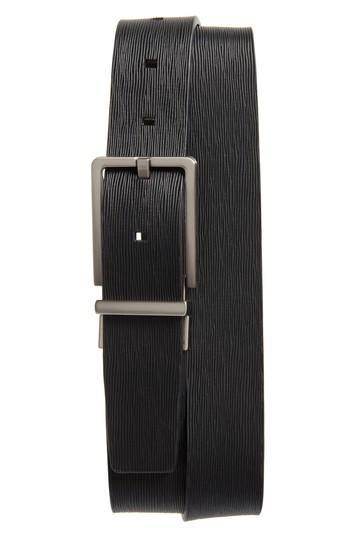 Men's Ck Calvin Klein Saffiano Leather Belt - Black