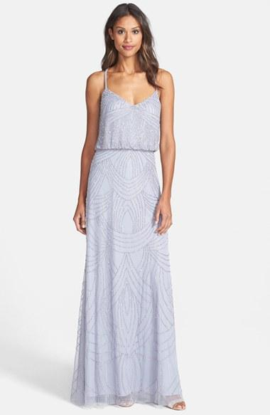 Women's Adrianna Papell Beaded Chiffon Blouson Gown - Grey