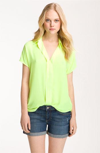 Bellatrix Pleat Placket Slouchy Shirt Tunic Green Small