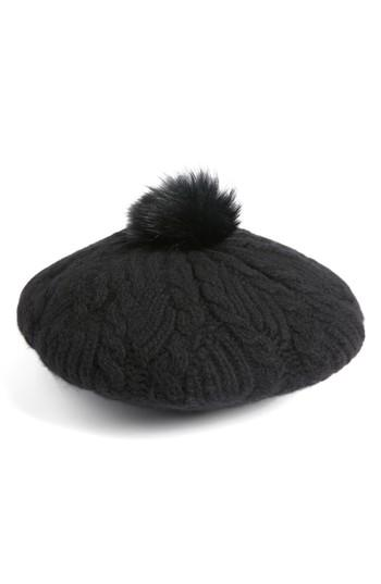 Women's Helen Kaminski Cashmere Beret With Genuine Fox Fur Pom - Black