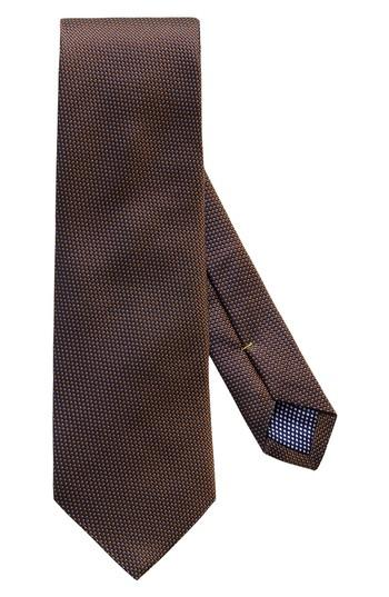 Men's Eton Microdot Silk Tie, Size - Brown