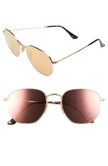 Women's Ray-ban 54mm Oval Aviator Sunglasses - Gold/ Pink