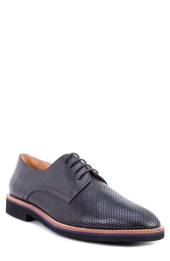 Men's Zanzara Hartung Perforated Plain Toe Derby M - Black