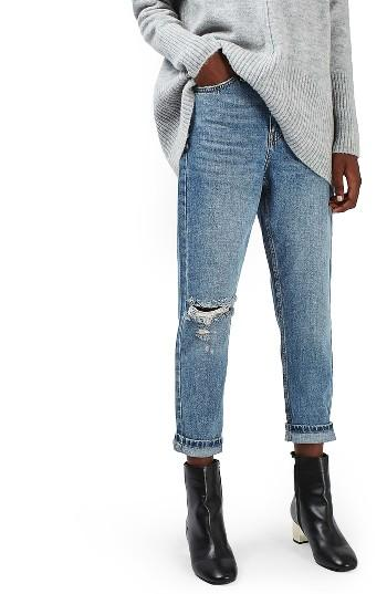 Petite Women's Topshop Ripped Mom Jeans