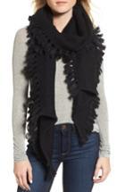 Women's Rebecca Minkoff Asymmetrical Fringed Muffler, Size - Black