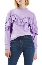 Women's Topshop Jersey Ruffle Sweatshirt Us (fits Like 0) - Purple