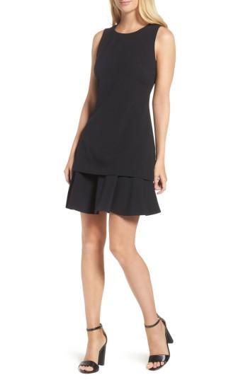 Petite Women's Eliza J Crepe Fit & Flare Dress P - Black