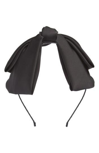 Cara Satin Bow Headband, Size - Black