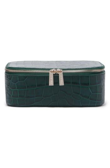 Pop & Suki Bigger Croc Embossed Leather Makeup Case, Size - Emerald