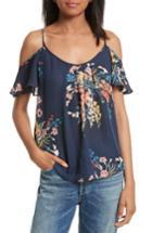 Women's Joie Adorlee Print Silk Cold Shoulder Top, Size - Blue