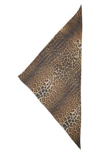 Women's Saint Laurent Ysl Leopard Print Cashmere & Silk Triangle Scarf, Size - Black