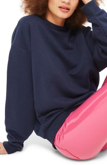 Women's Topshop Sloppy Sweatshirt Us (fits Like 0-2) - Blue