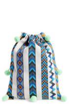 Pitusa Pompom Drawstring Bag - Blue