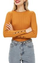 Women's Topshop Ribbed Sweater Us (fits Like 0-2) - Yellow