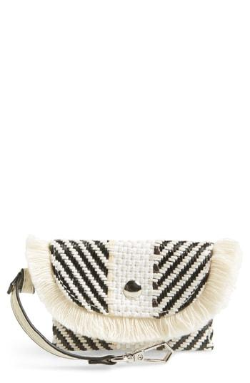 Violet Ray New York Woven Keychain Card Case - Beige
