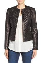 Women's Cole Haan Quilted Leather Moto Jacket