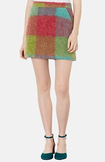 Topshop Plaid Wool Miniskirt Red Multi