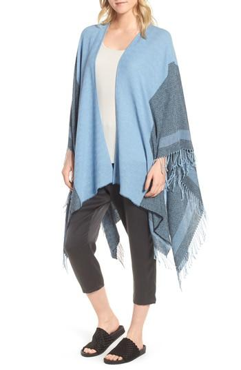 Women's Eileen Fisher Recycled Cotton Poncho Wrap, Size - Blue