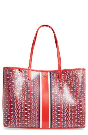 Tory Burch Gemini Link Coated Canvas Tote - Red