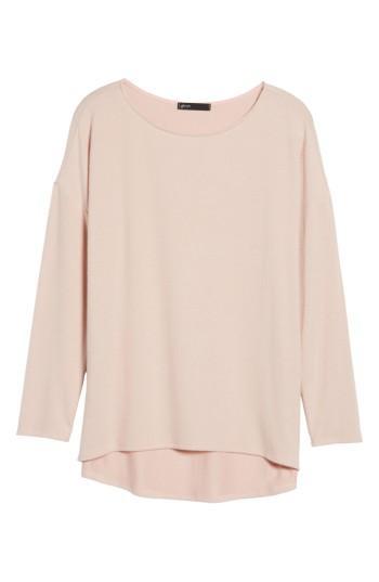 Petite Women's Gibson Cozy Fleece Ballet Neck High/low Pullover P - Pink
