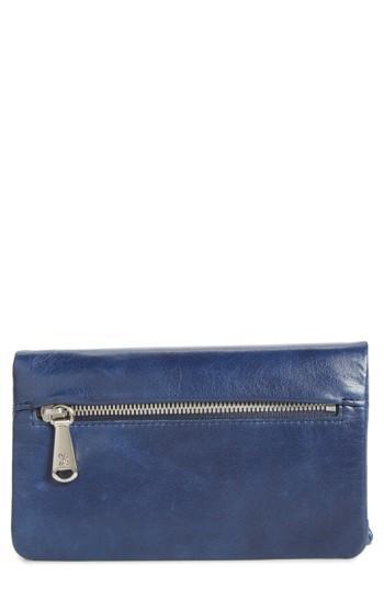 Women's Hobo West Calfskin Leather Wallet - Blue