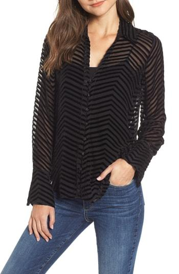 Women's Paige Toscani Velvet Stripe Blouse - Black