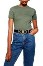 Women's Topshop Scallop Edge Tee Us (fits Like 0) - Green