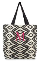 Cathy's Concepts Personalized Ikat Jute Tote - Black