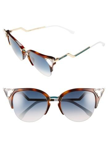 Women's Fendi Crystal 52mm Tipped Cat Eye Sunglasses -