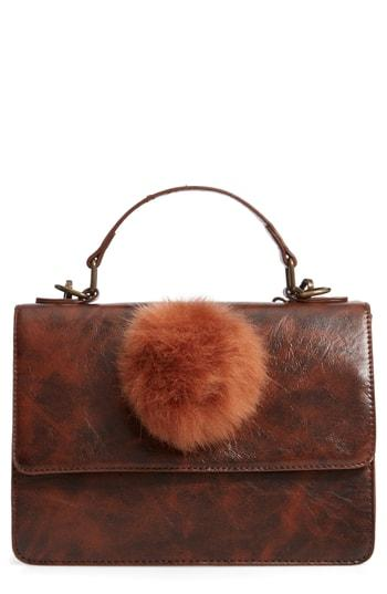 Muche Et Muchette Eleanor Faux Leather Satchel With Faux Fur Pom - Brown