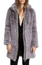 Women's Avec Les Filles Knit Faux Fur Coat - Grey