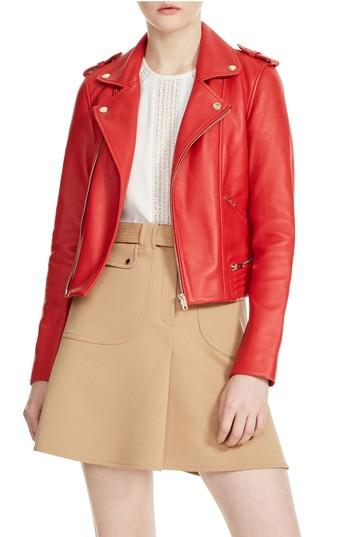 Women's Maje Basalt Leather Moto Jacket - Red