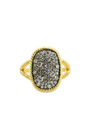 Women's Freida Rothman Gilded Cable Large Pave Cocktail Ring