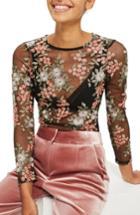 Women's Topshop Sheer Floral Bodysuit Us (fits Like 0) - Black