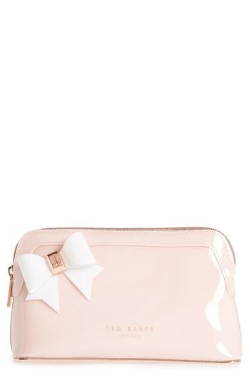 Ted Baker London Aubrie Bow Cosmetics Case, Size - Light Pink