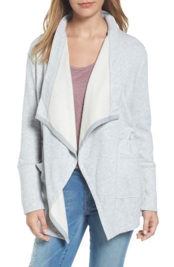 Petite Women's Caslon Asymmetrical Drape Collar Terry Jacket P - Grey
