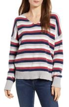 Women's Woven Heart Stripe Crewneck Chenille Sweater