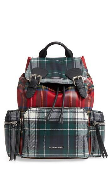 Burberry Medium Rucksack Laminated Tartan Backpack - Red